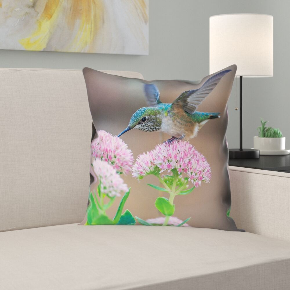 Holte Hummingbird Faux Linen Pillow Cover Size: 16