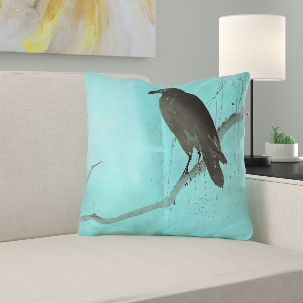 Hansard Crow and Willow Outdoor Throw Pillow with Concealed Zipper Size: 16
