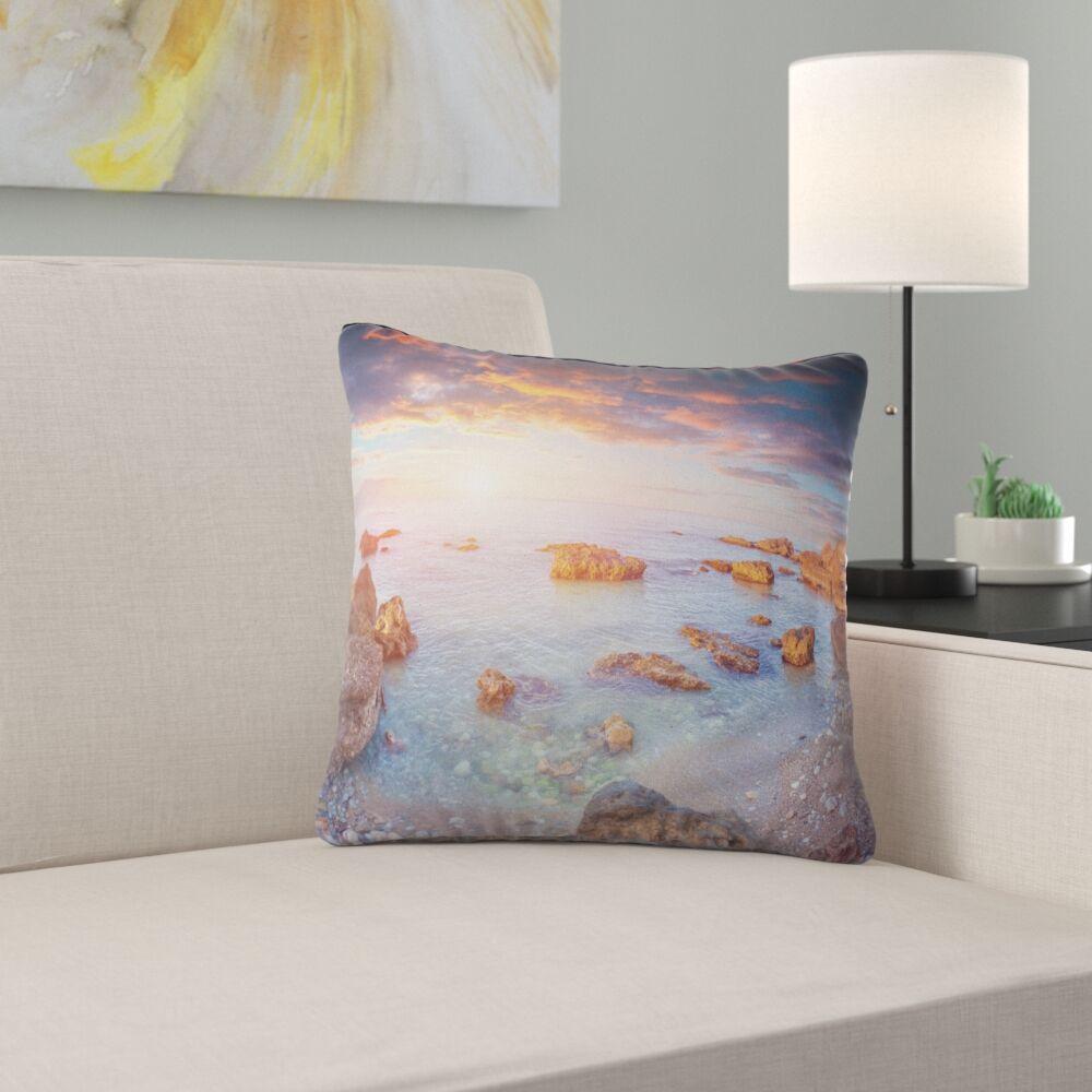 Seashore Sunrise on South Coast of Sicily Pillow Size: 26