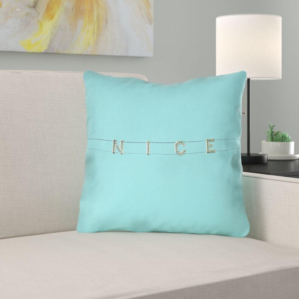 Hansard Nice Sign Suede Throw Pillow Size: 18