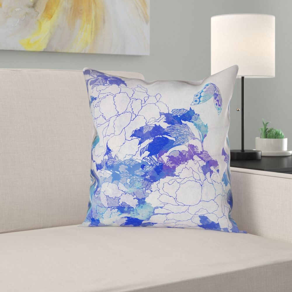 Raritan Watercolor Peonies and Butterfly Pillow Cover Size: 20