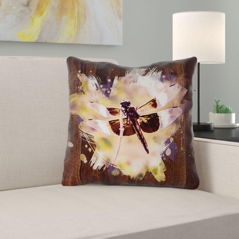 Hansard Watercolor Dragonfly Throw Pillow Size: 20