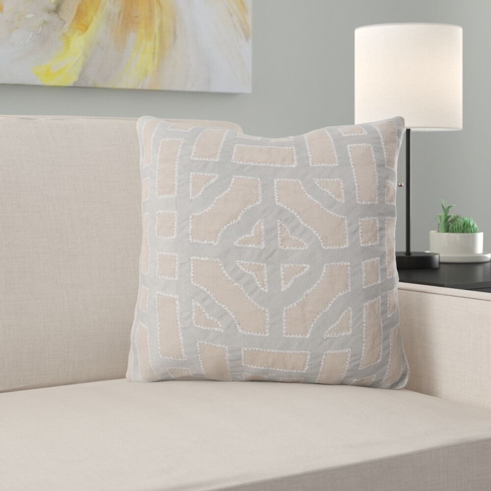 Watson Polyester Throw Pillow Color: Taupe/Gray, Size: 20