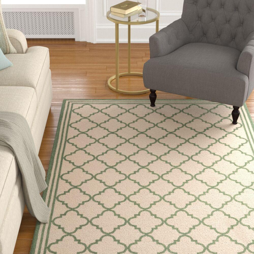 Berardi Cream/Green Area Rug Rug Size: Rectangle 9' x 12'