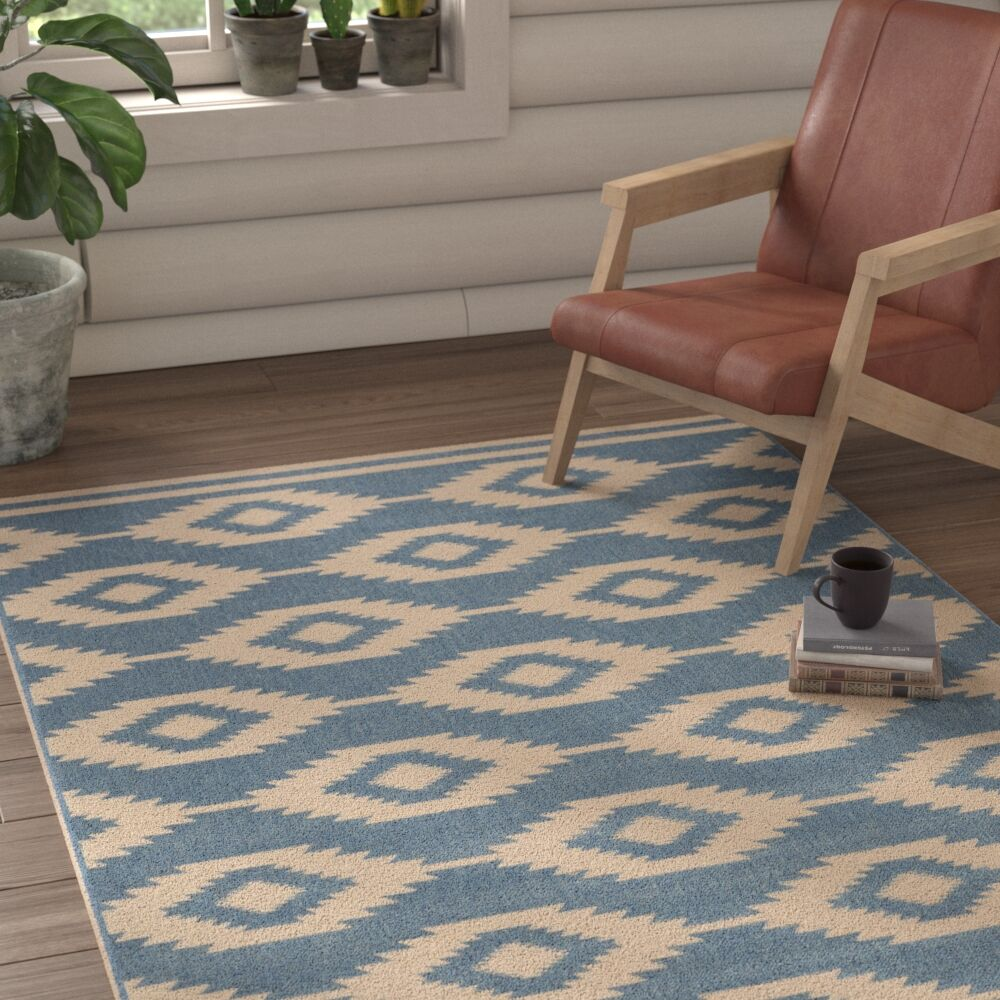 Mathieson Cream/Blue Area Rug Rug Size: Rectangle 8' x 10'