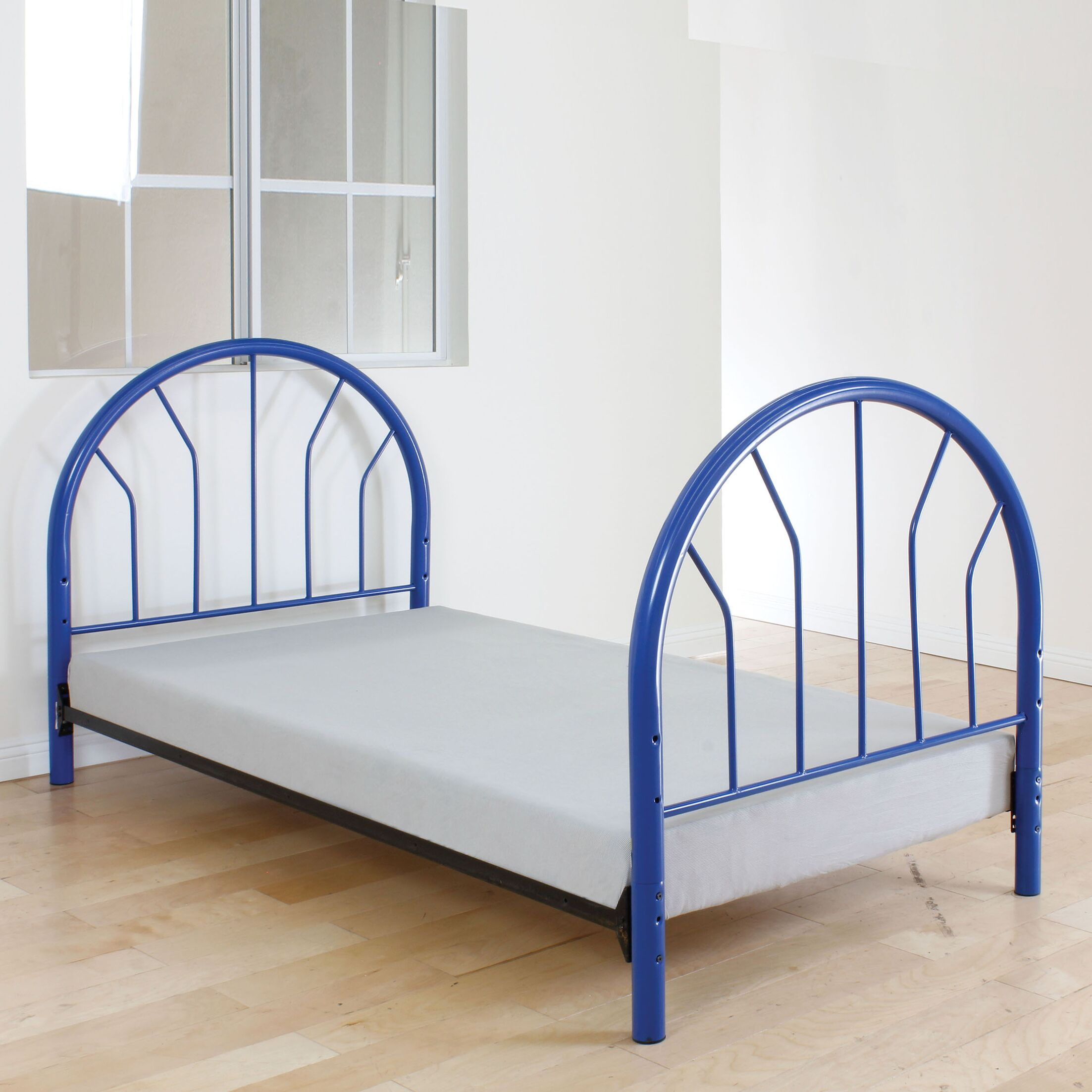 Annabella Twin Open-Frame Headboard and Footboard Color: Blue