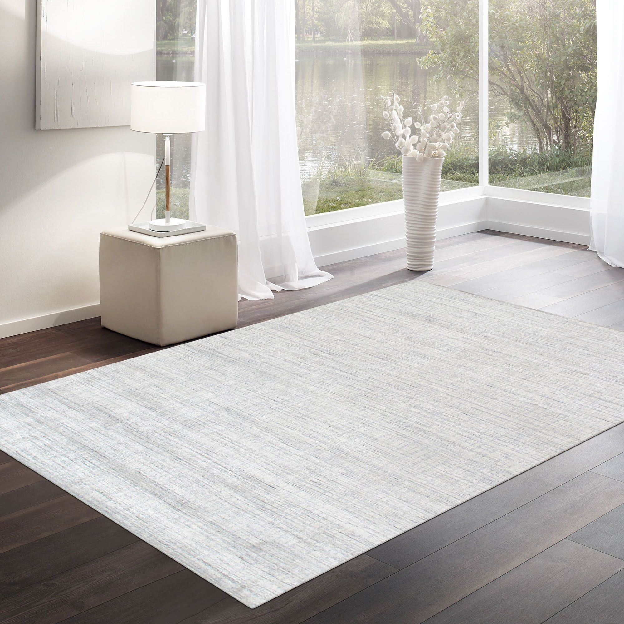 Slate Hand Knotted Wool and Silk Ivory Area Rug Rug Size: Rectangle 9' x 12'