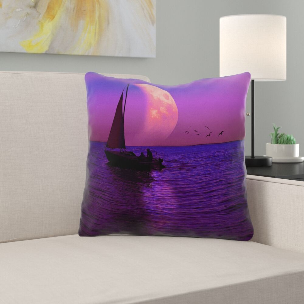 Jada Magenta Moon and Sailboat Cotton Throw Pillow Size: 20