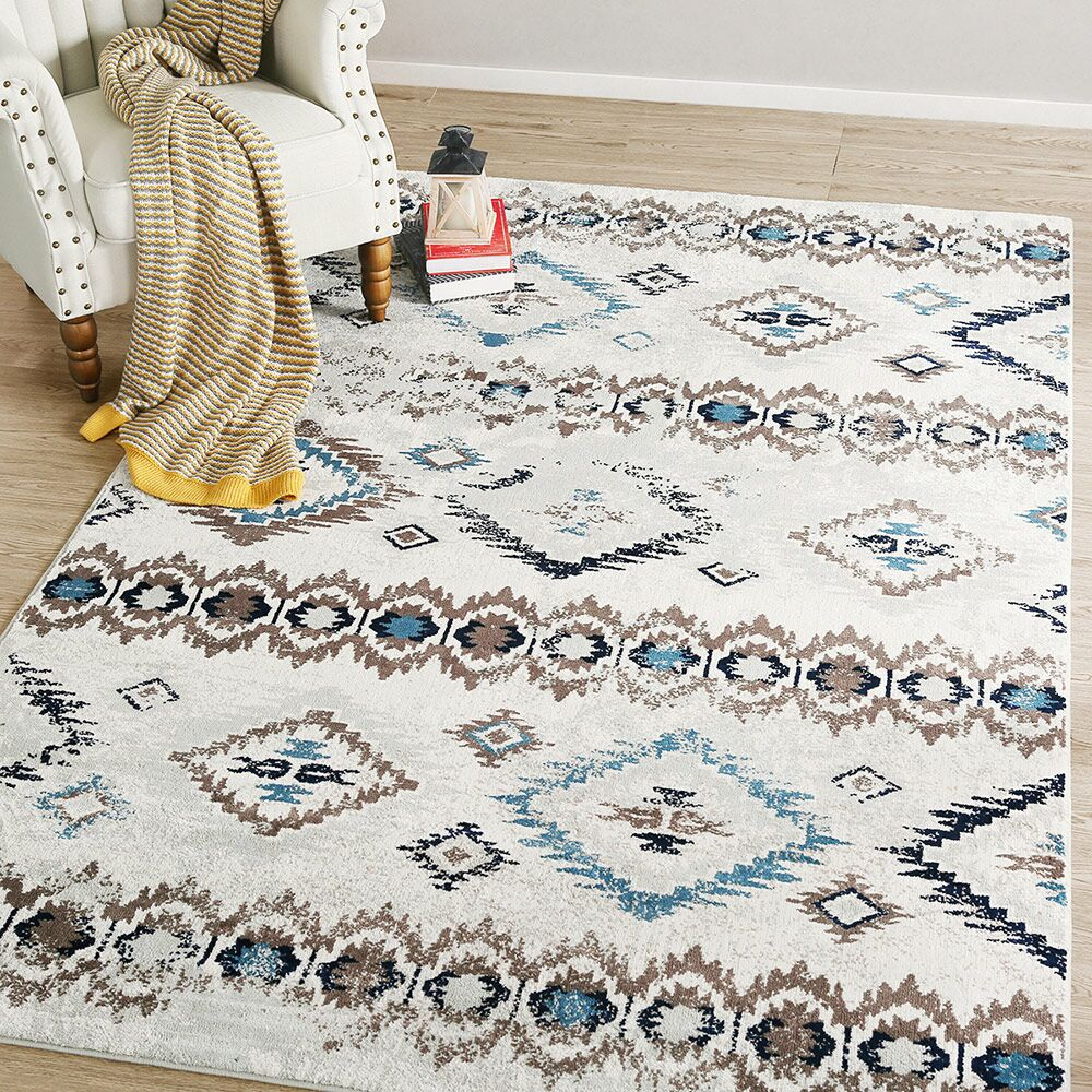 Rouse Abstract White/Brown Area Rug Rug Size: Rectangle 6'5