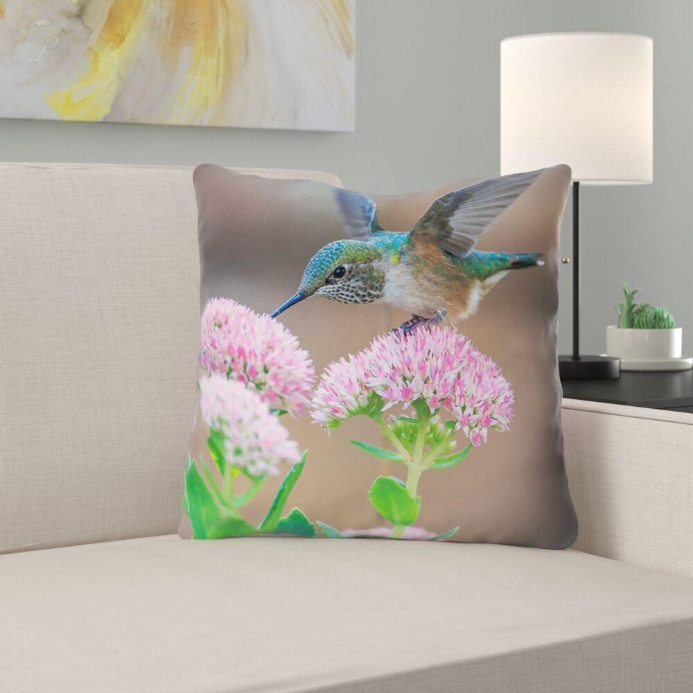 Holte Hummingbird Cotton Throw Pillow Size: 16