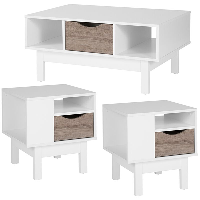 Forest 3 Piece Coffee Table Set Color: White