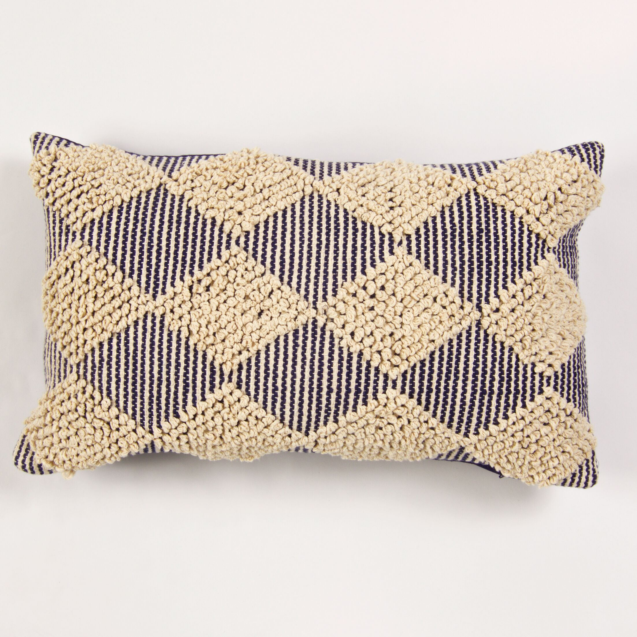 St. Charles Textured Raised Cotton Lumbar Pillow Color: Navy