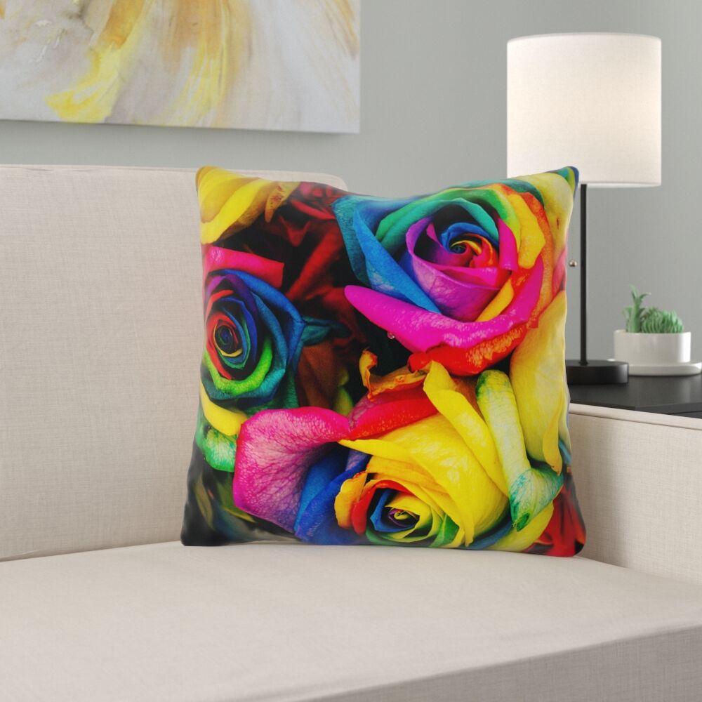 Avrah Roses Square Throw Pillow Size: 16