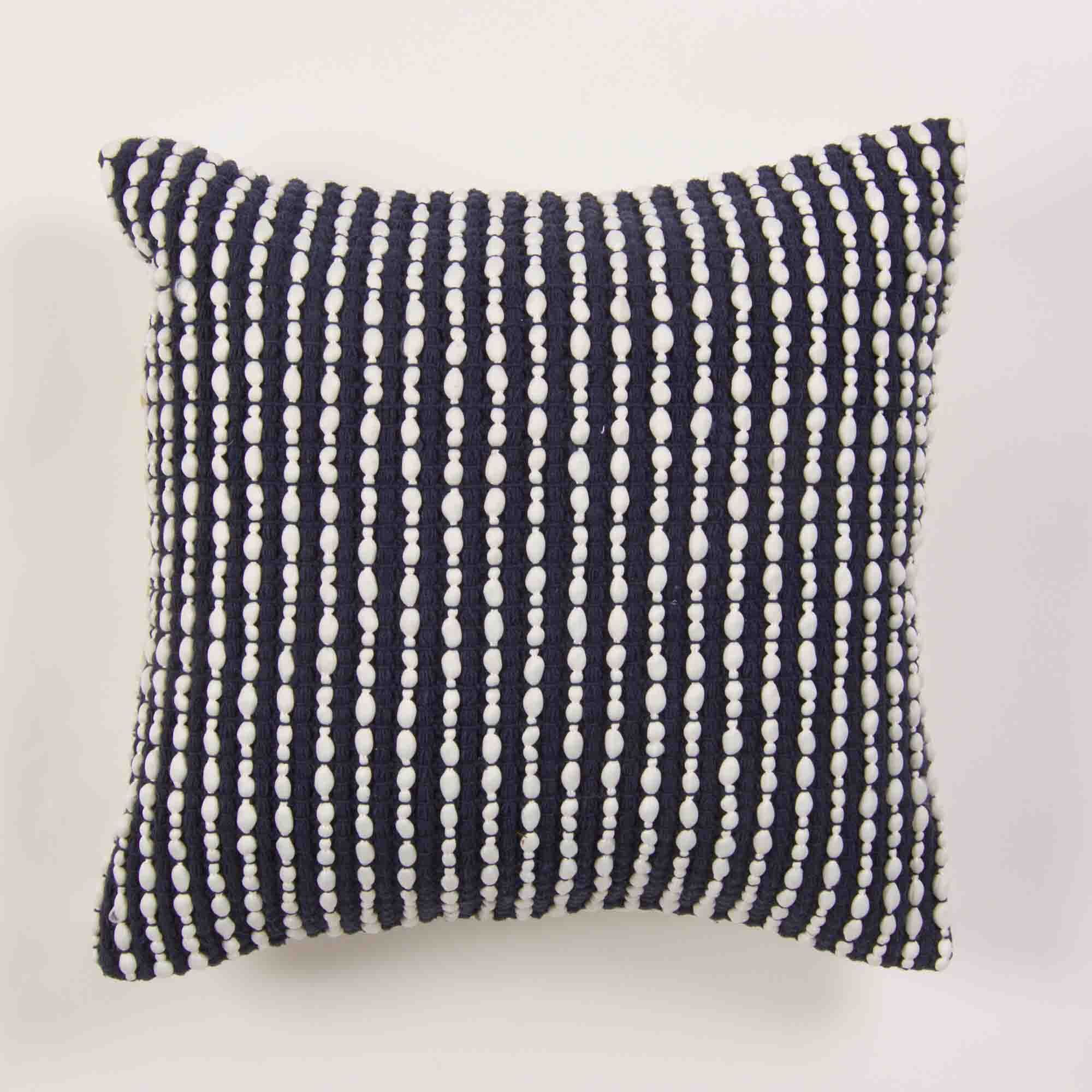 Caulksville Textured Cotton Throw Pillow Color: Navy