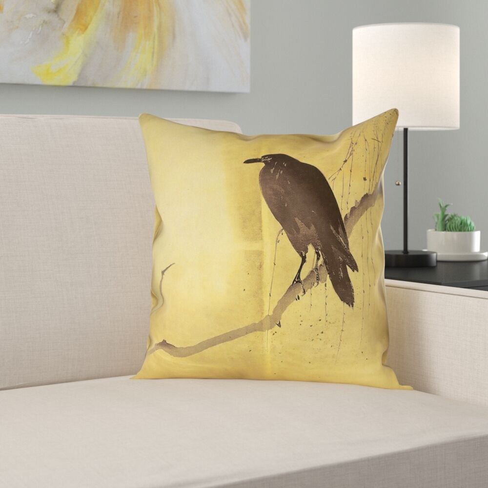 Hansard Crow and Willow Pillow Cover with Zipper Size: 18