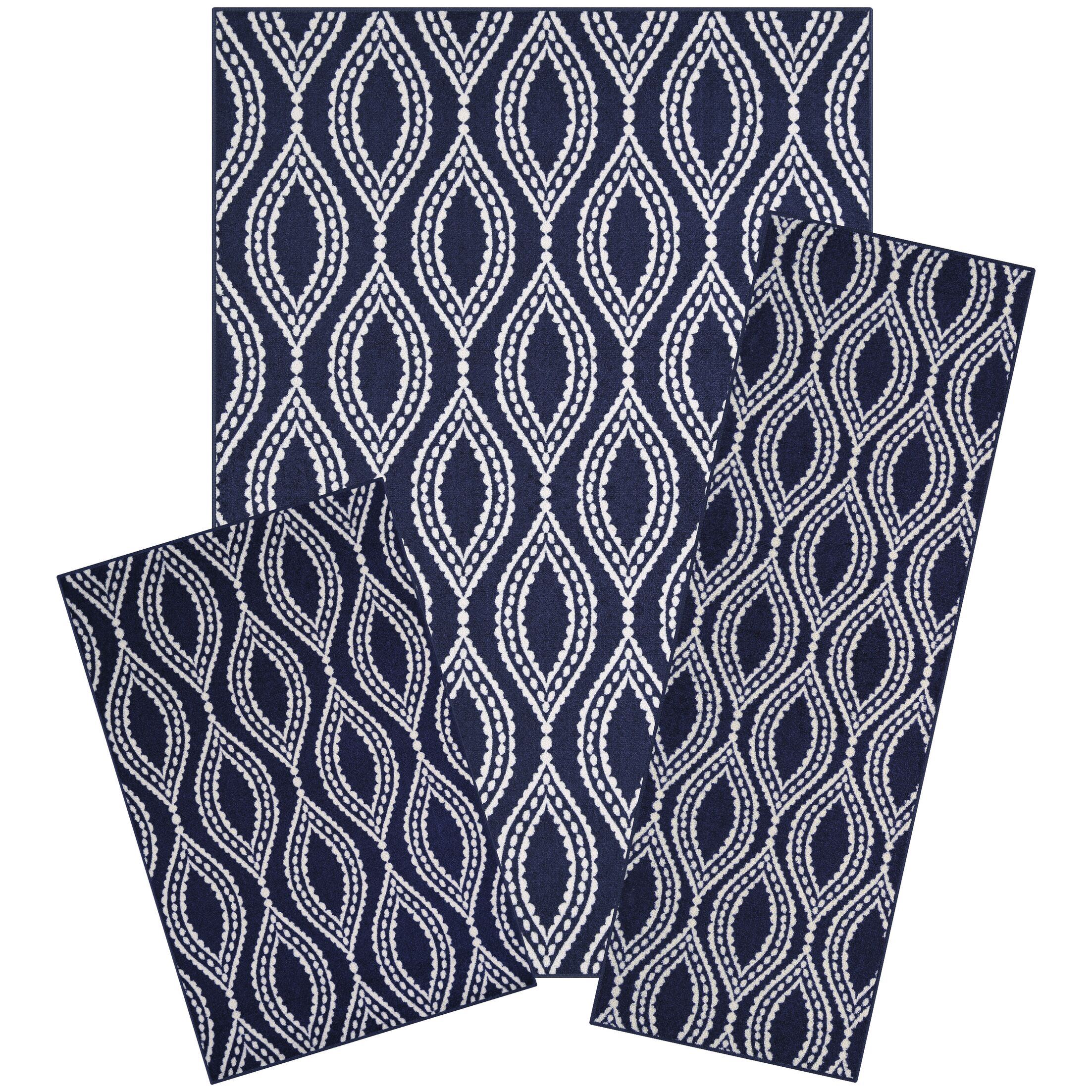 Bothwell 3 Piece Navy Area Rug Set