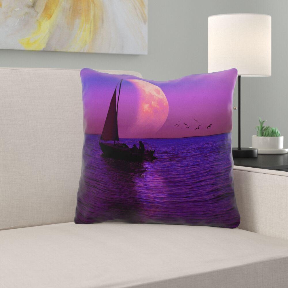 Jada Magenta Moon and Sailboat Outdoor Throw Pillow Size: 18