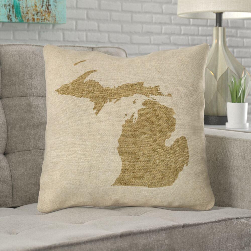 Austrinus Michigan Canvas Throw Pillow Size: 26