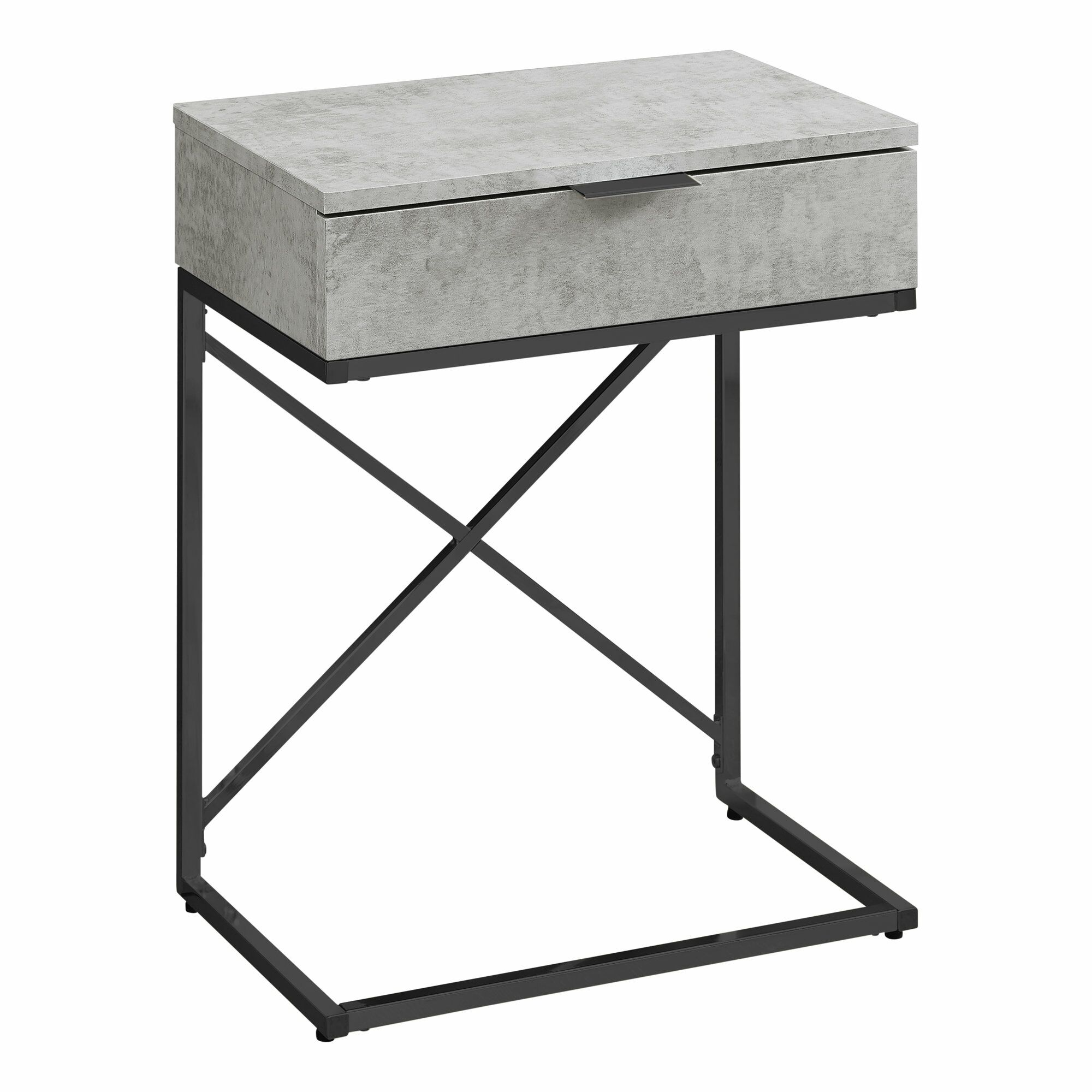 Hemlock End Table with Storage Table Base Color: Black, Table Top Color: Gray