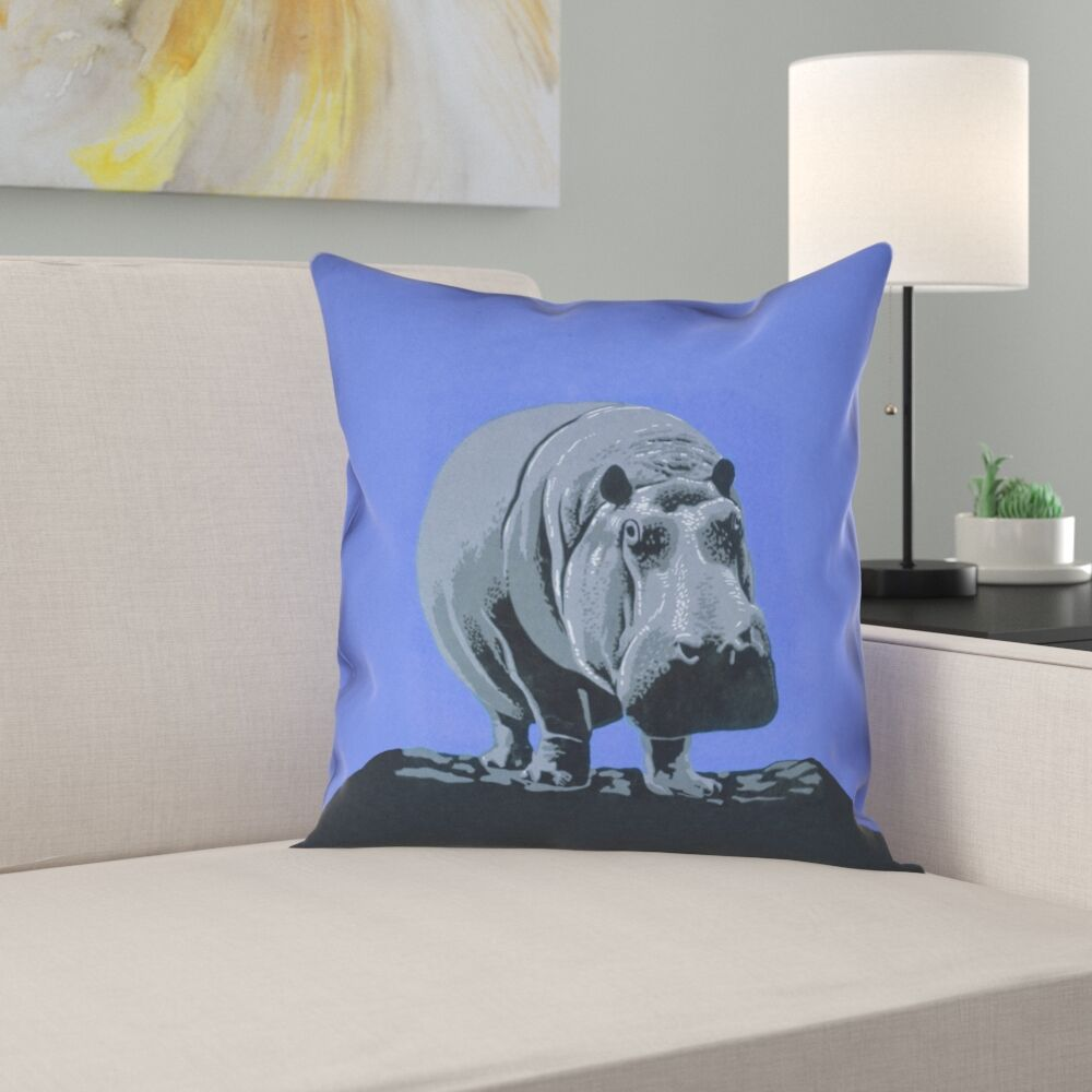Hansard Vintage Hippo Zoo Poster Square Pillow Cover Size: 18