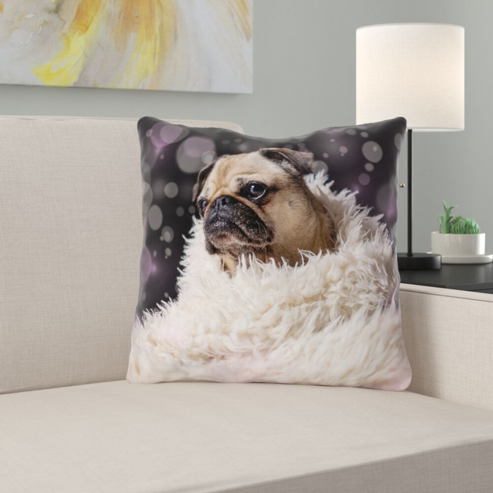 Hansard Fancy Pug Square Throw Pillow Size: 14