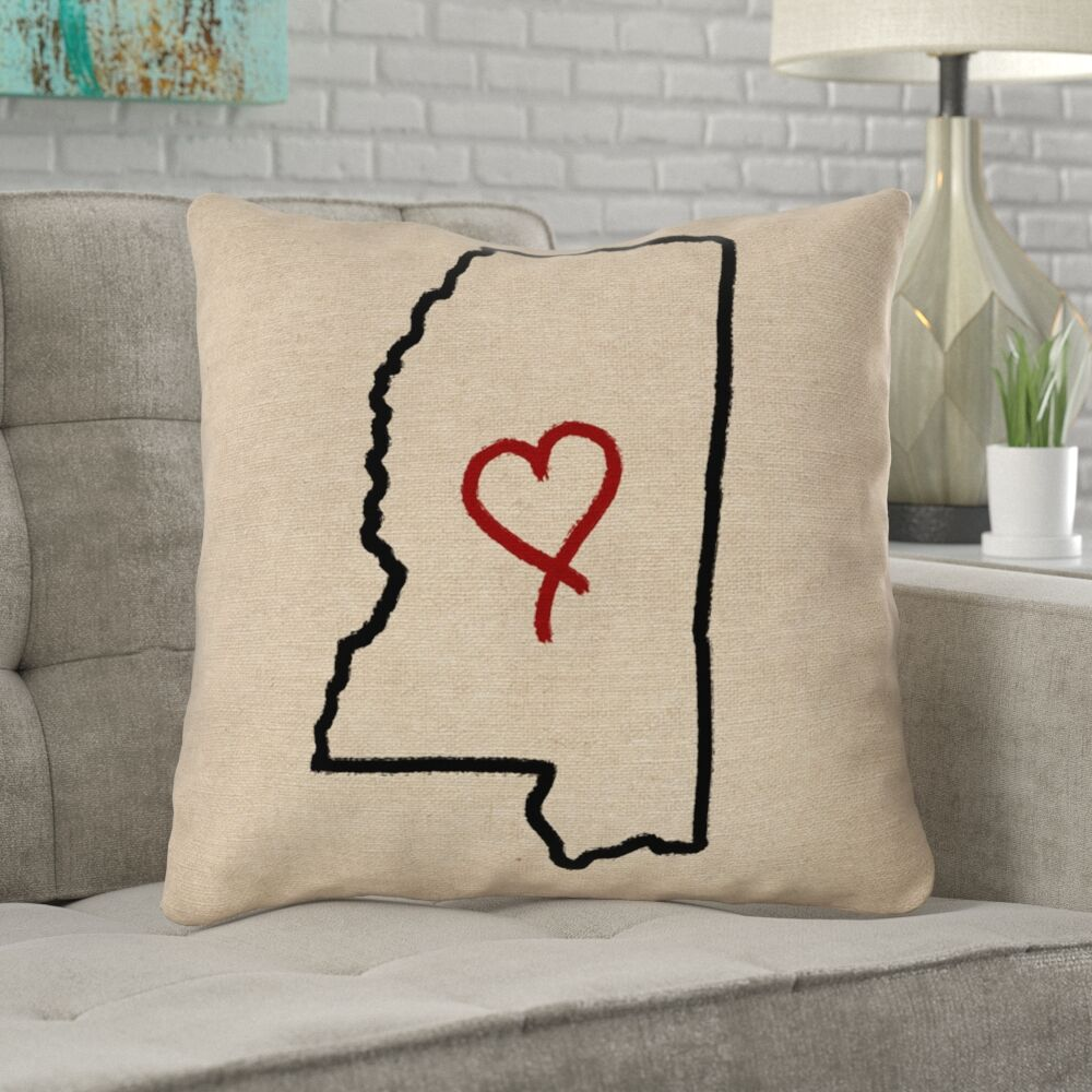 Austrinus Mississippi Love Outline Outdoor Throw Pillow Size: 16
