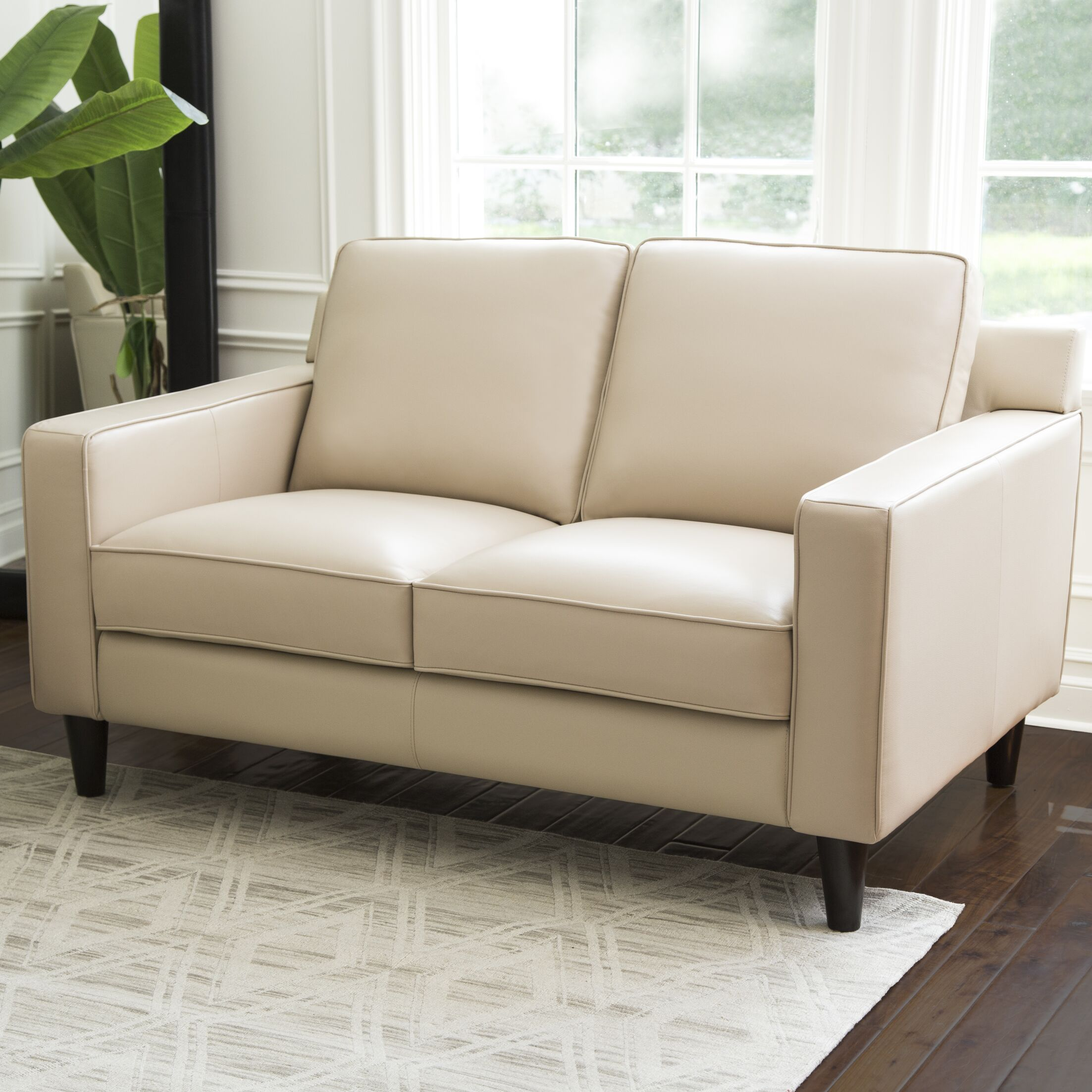 Oaklynn Leather Loveseat Upholstery Color: Cream