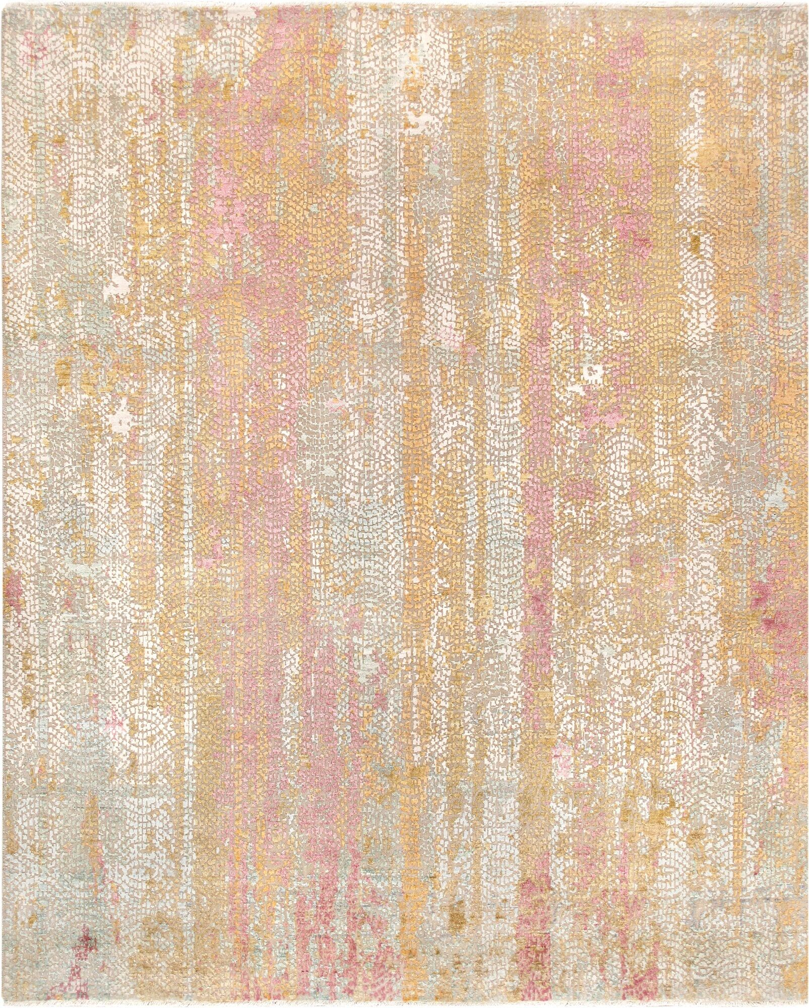 Gemstone Hand-Knotted Wool and Silk Pink/Orange Area Rug