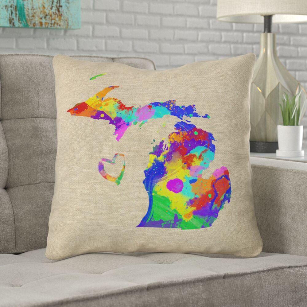 Austrinus Michigan Watercolor Outdoor Throw Pillow Size: 18