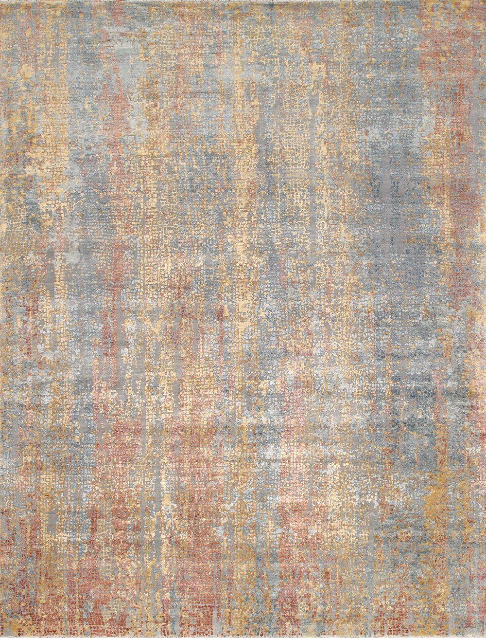 Gemstone Hand-Knotted Wool and Silk Orange/Blue Area Rug Rug Size: Rectangle 7'11