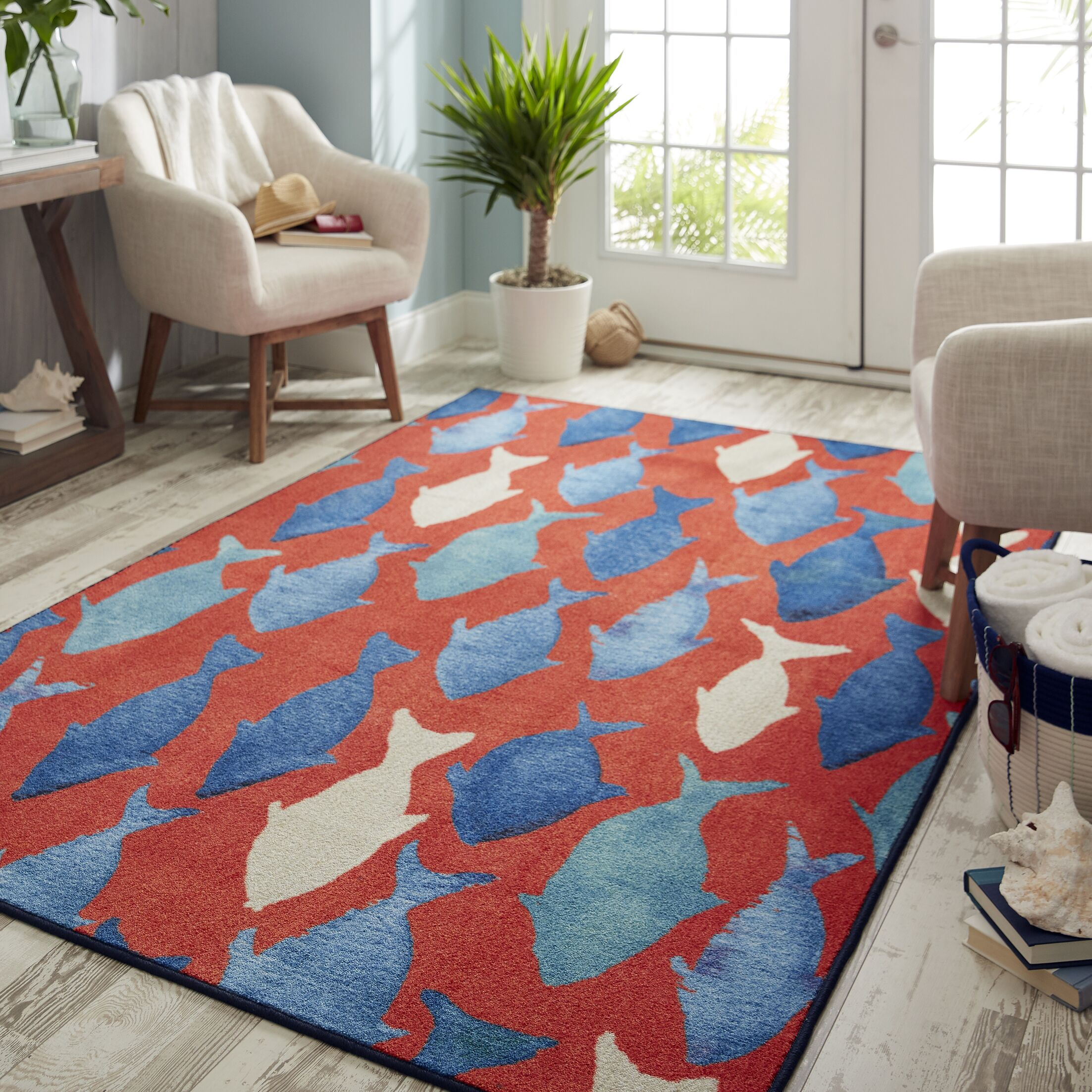 Wildermuth Red/Blue Area Rug Rug Size: Rectangle 5' x 8'