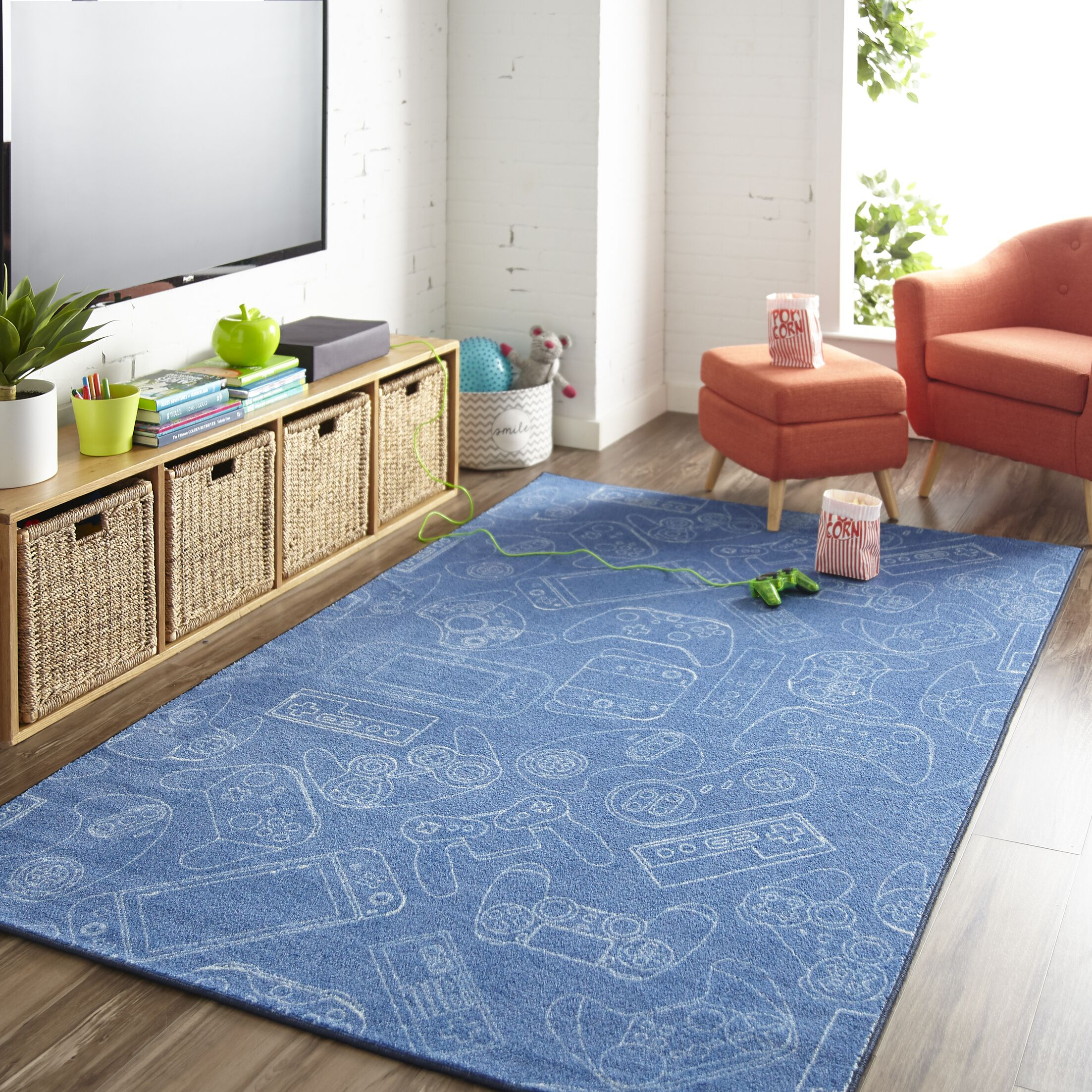 Engler Control Blue Area Rug Rug Size: Rectangle 5' x 8'