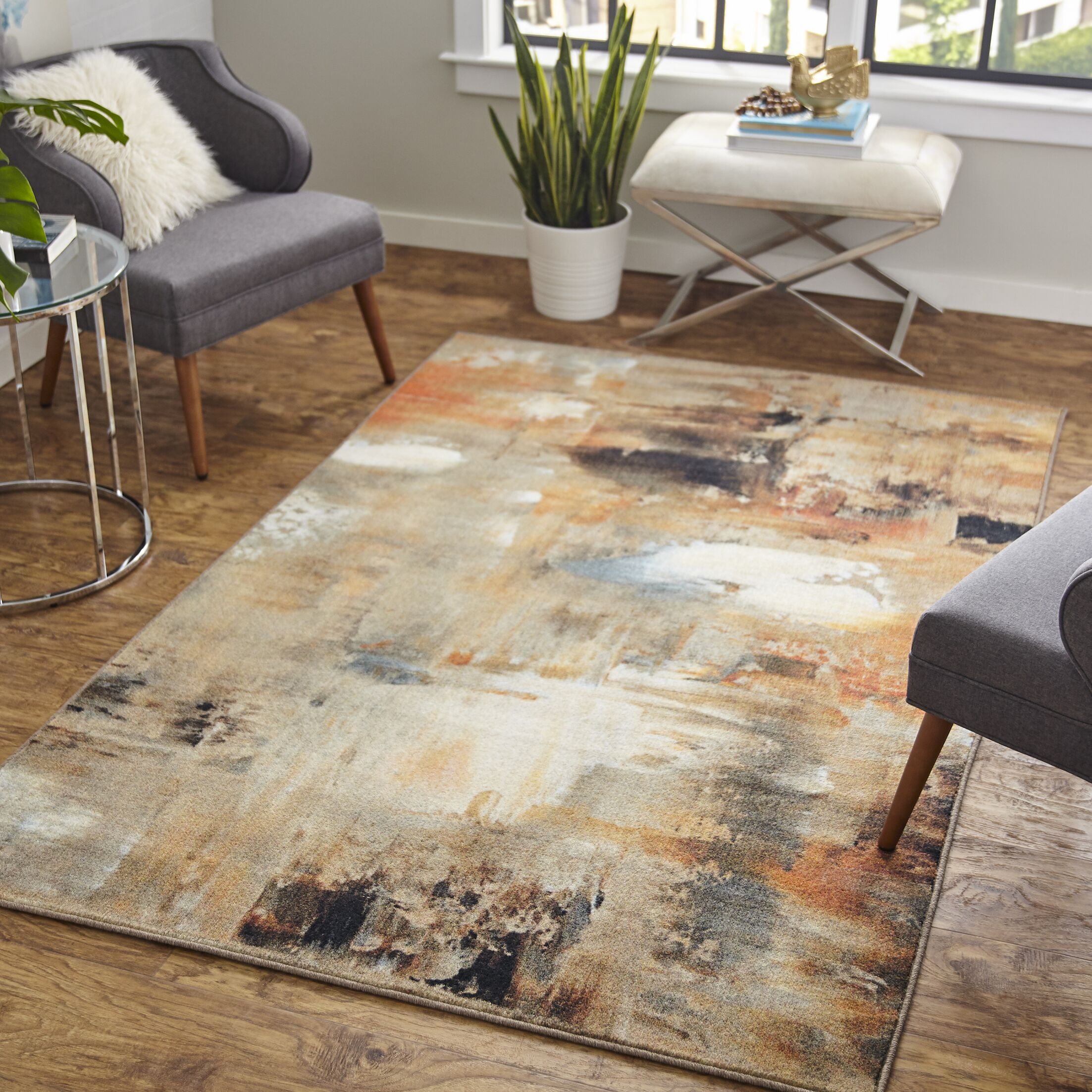 Hallberg Canvas Brown/Beige Area Rug Rug Size: Rectangle 5' x 8'