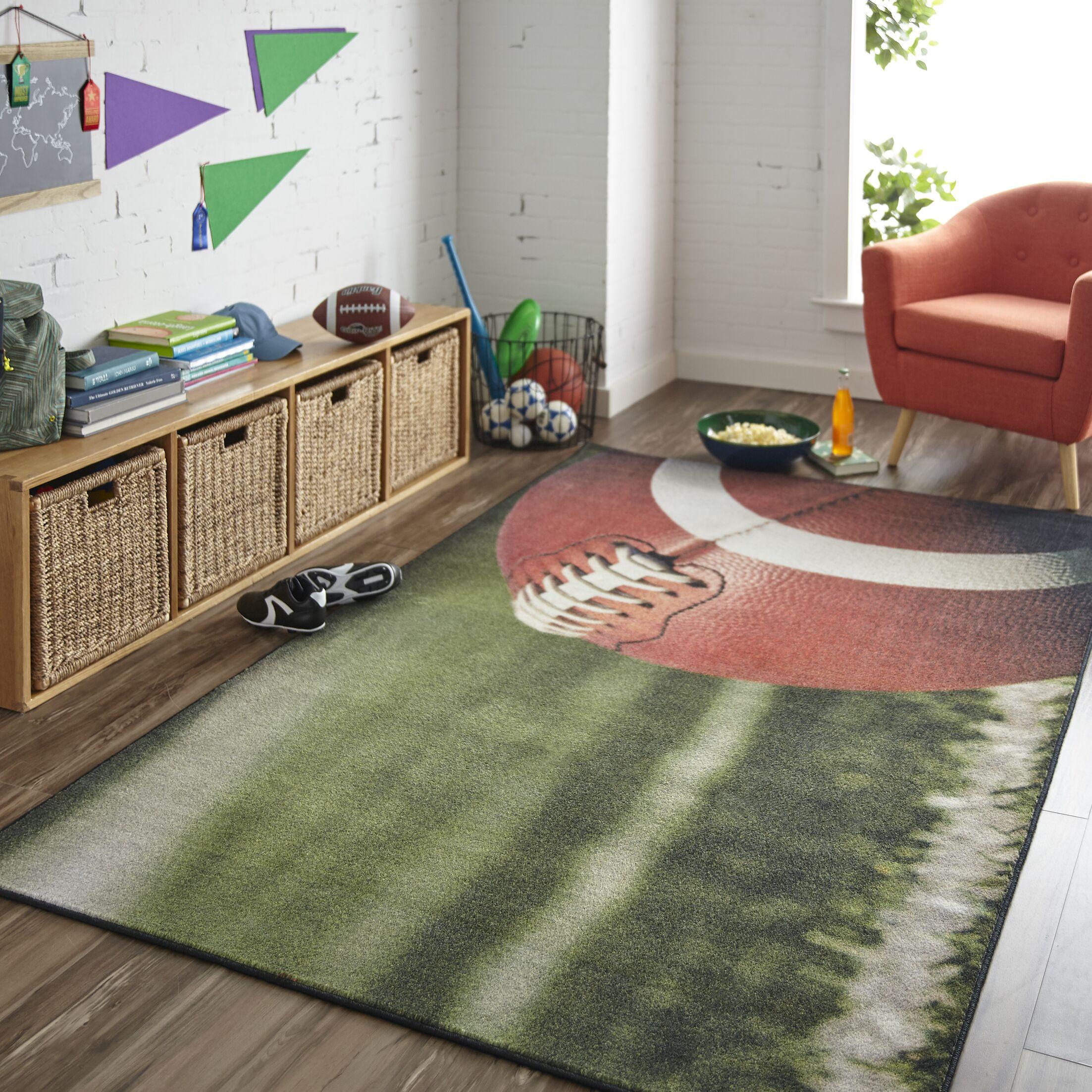 Engler Football Field Green/Brown Area Rug Rug Size: Rectangle 5' x 8'