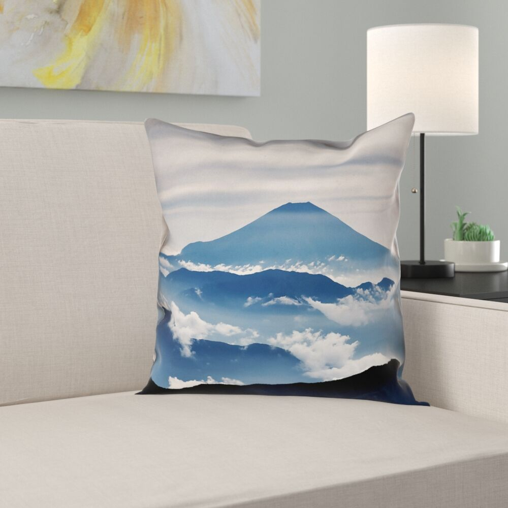Hashimoto A View of Mt. Fuji Square Cotton Pillow Cover Size: 14