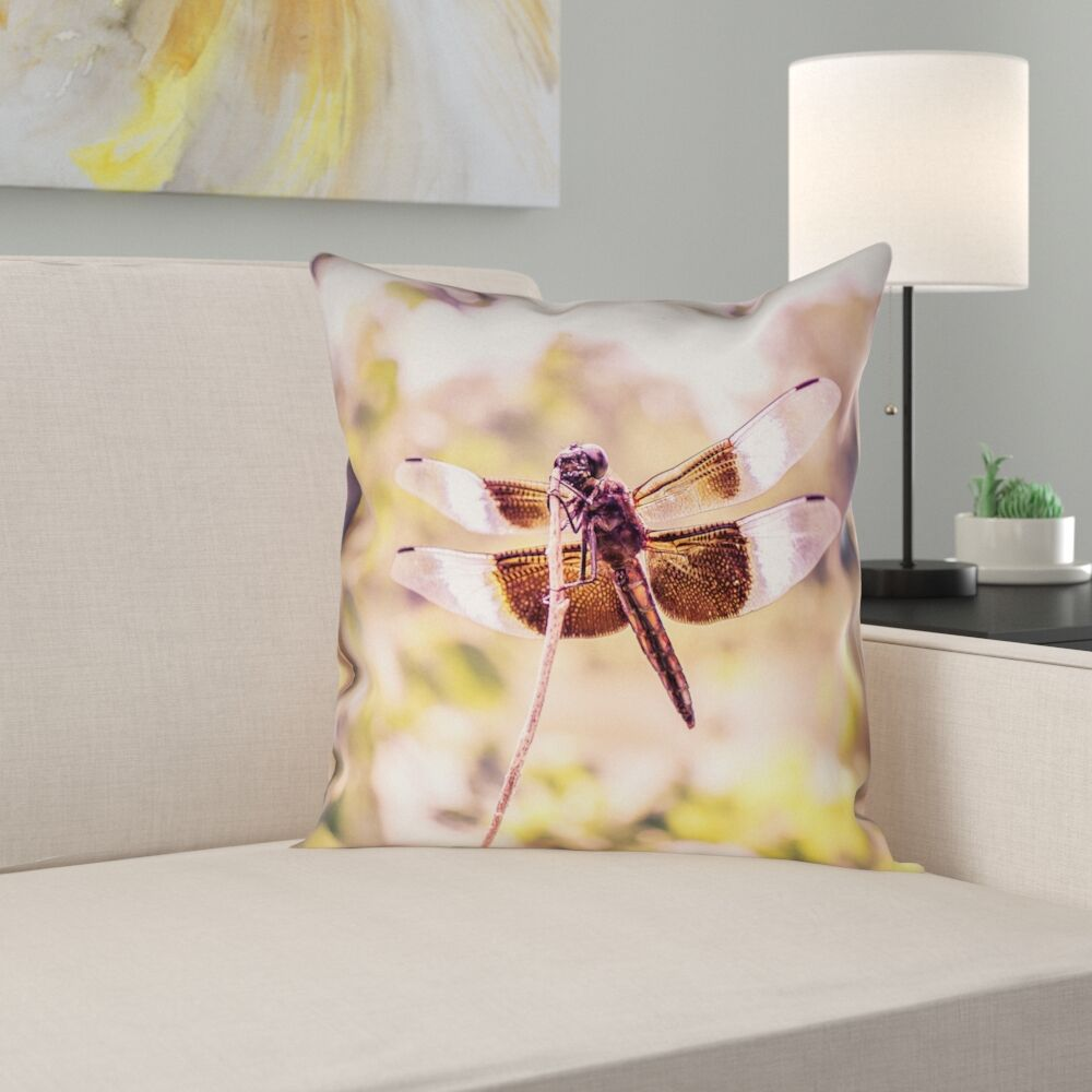 Hargis Dragonfly Square Pillow Cover Size: 26