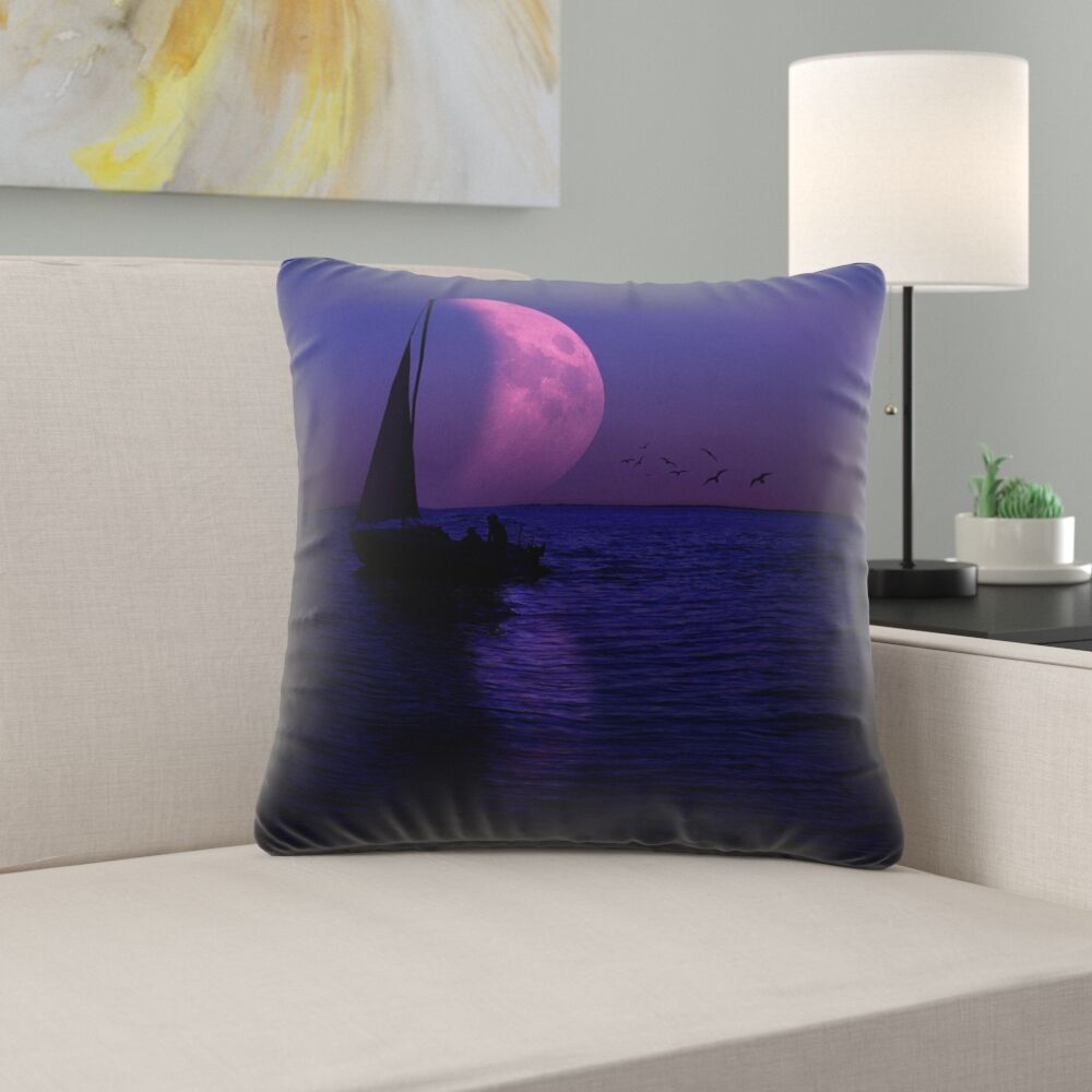 Jada Moon and Sailboat Square Throw pillow Size: 20