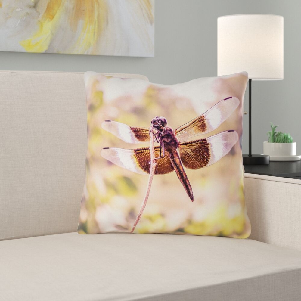 Hargis Dragonfly Square Throw Pillow Size: 14