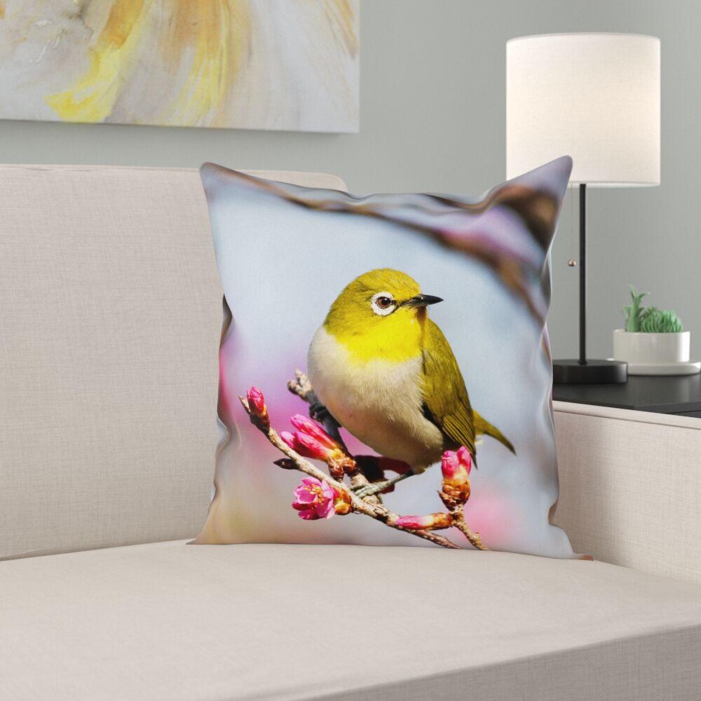Holston Bird Faux Linen Pillow Cover Size: 18