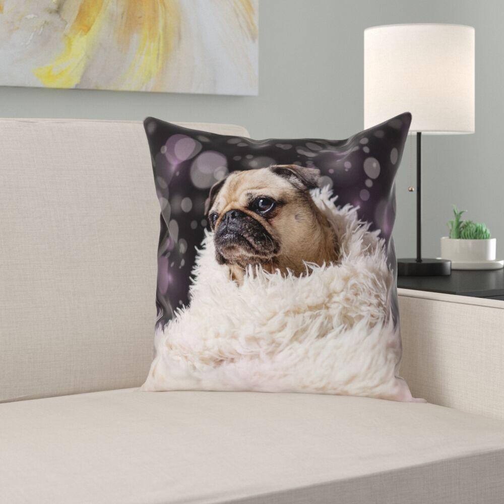 Hansard Fancy Pug 100% Cotton Pillow Cover Size: 16