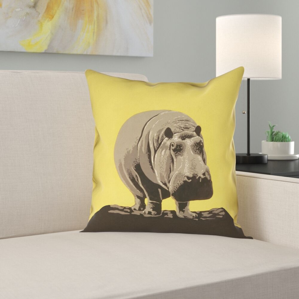 Hansard Vintage Hippo Zoo Poster 100% Cotton Pillow Cover Size: 20