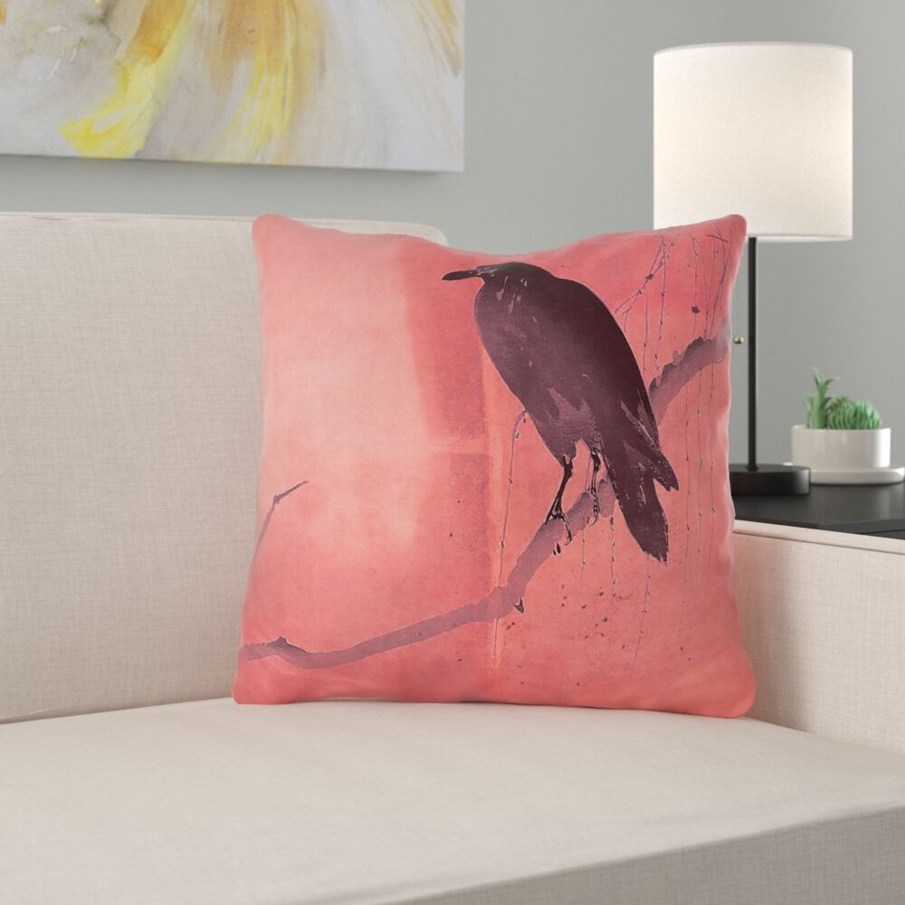 Hansard Crow and Willow Throw Pillow Size: 16