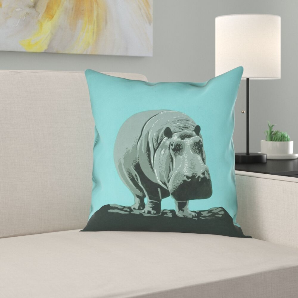 Hansard Vintage Hippo Zoo Poster Pillow Cover Size: 26