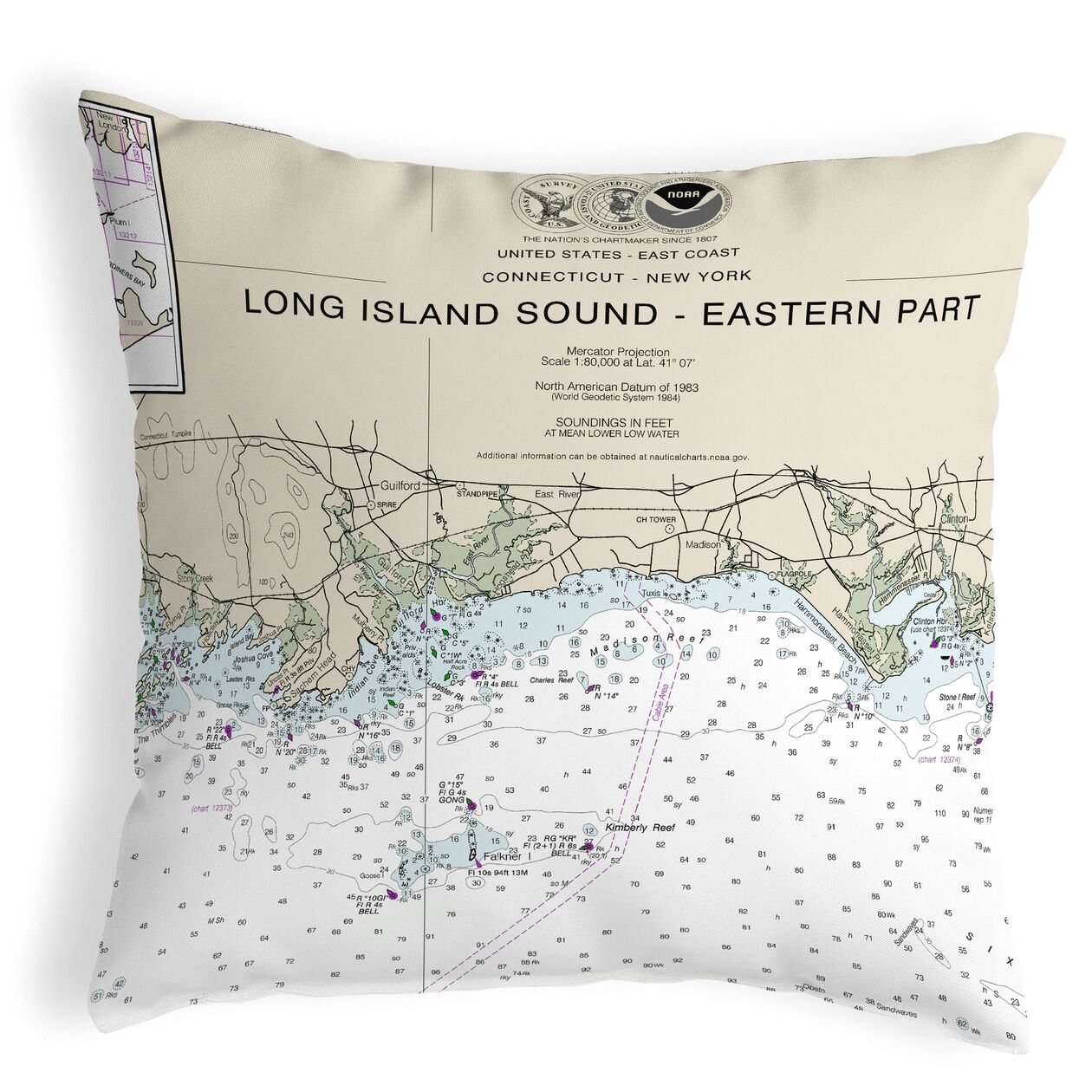 Long Island Sound - Eastern Part Detail, NY Non Corded Indoor/Outdoor Throw Pillow