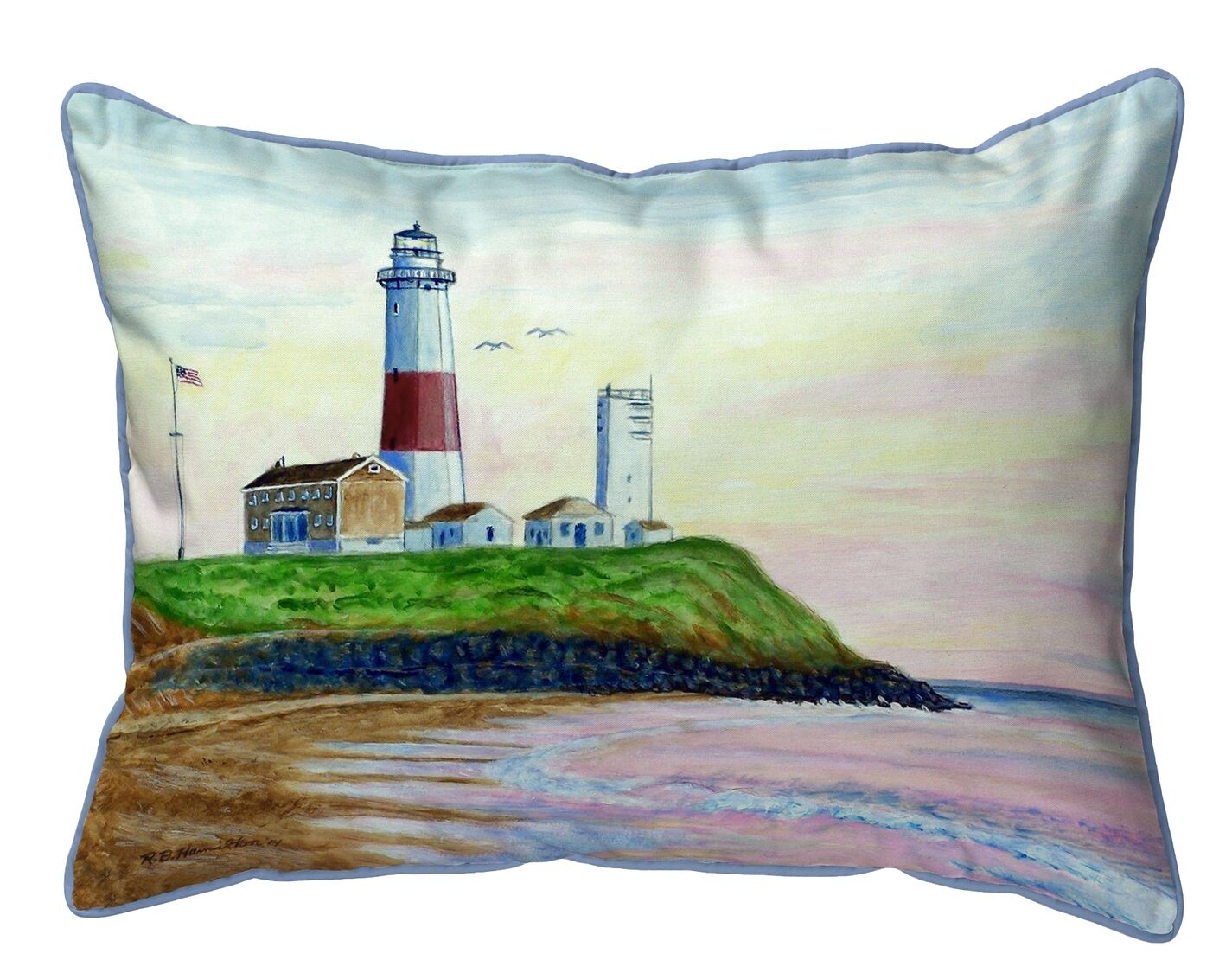 Gemma Montauk Lighthouse Indoor/Outdoor Lumbar Pillow Size: 11