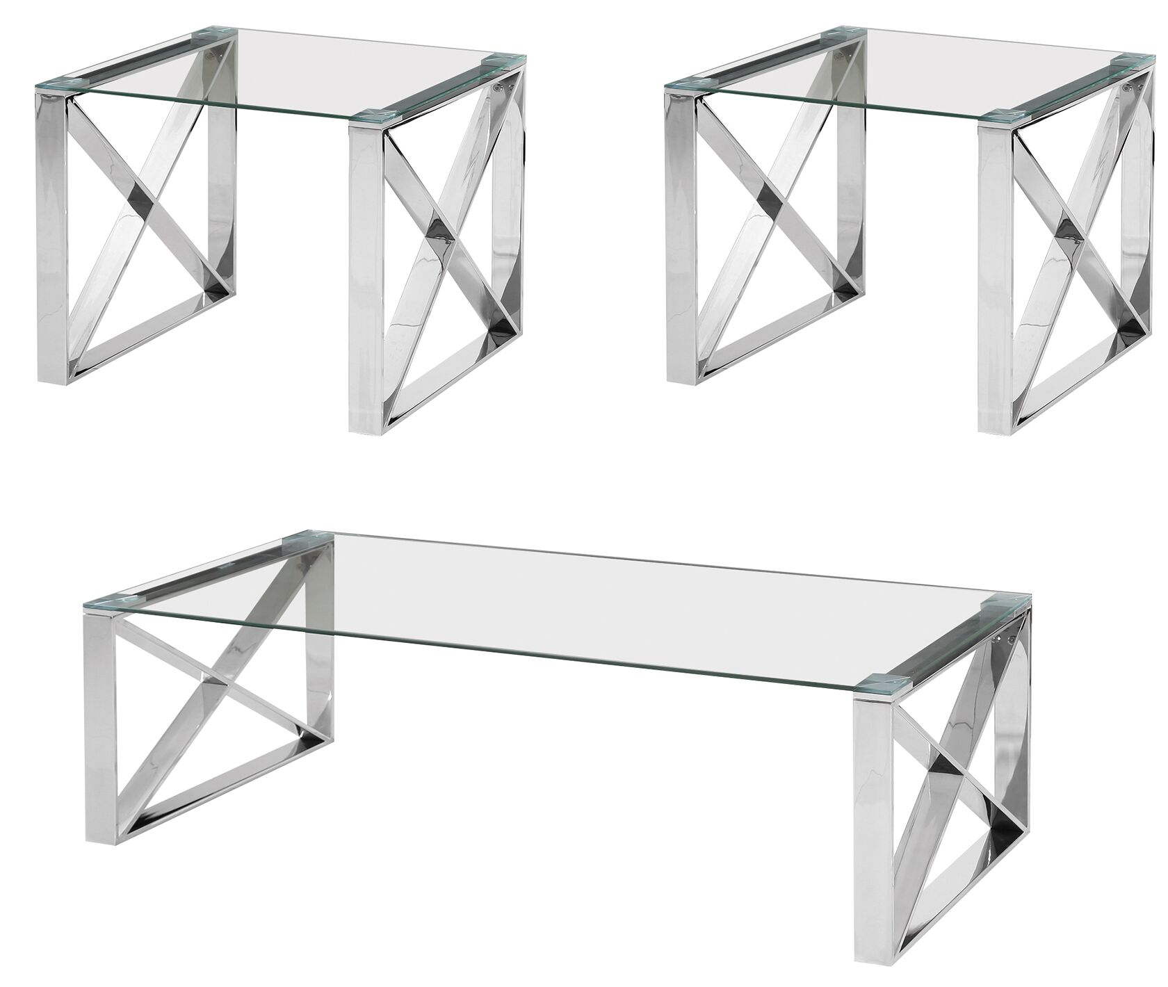 Kelvin 3 Piece Coffee Table Set Table Top Color: Clear, Table Base Color: Silver