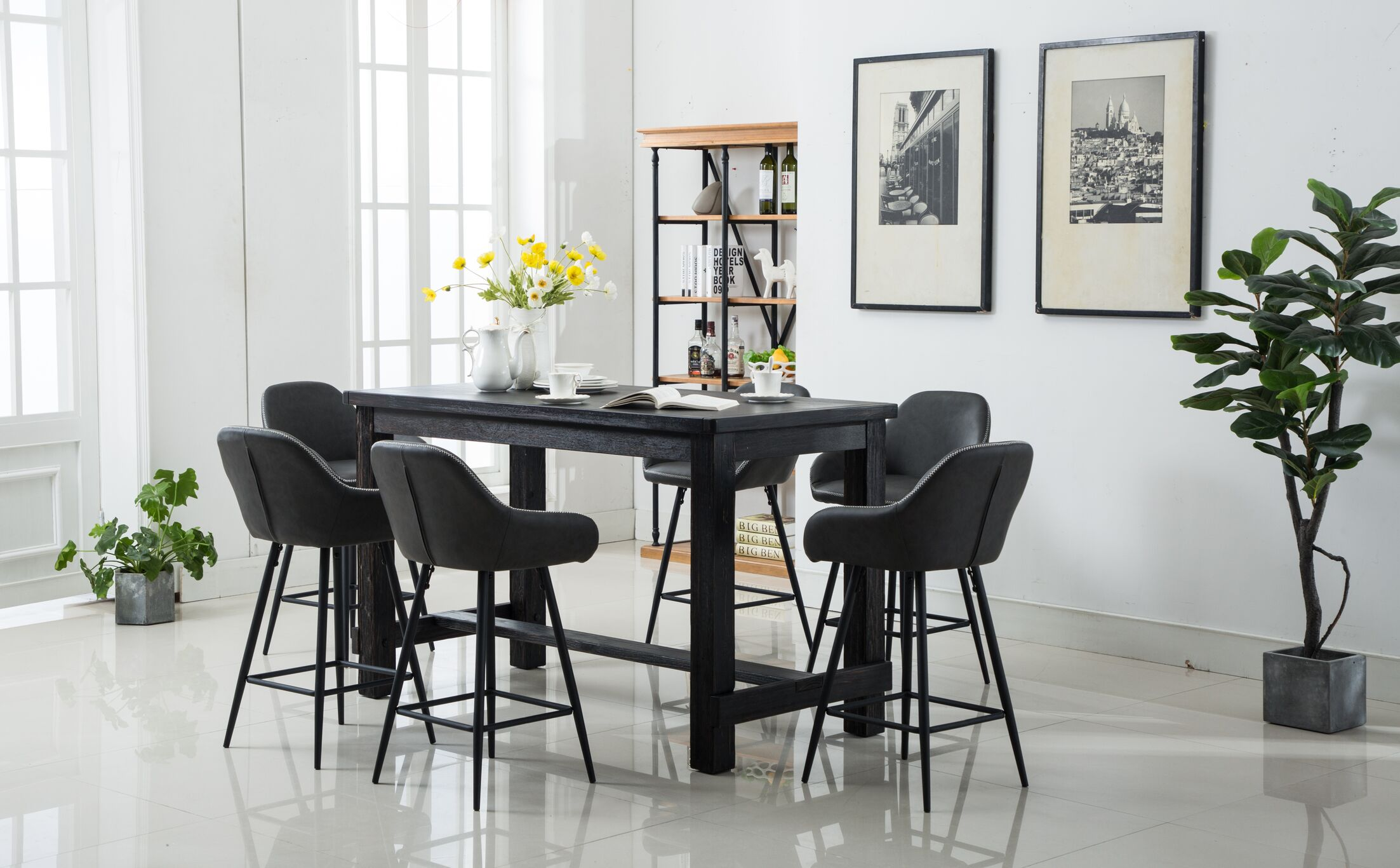 Shoemaker 7 Piece Counter Height Dining Set Chair Color: Gray