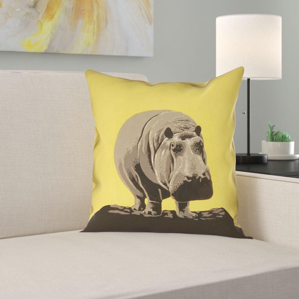 Hansard Vintage Hippo Zoo Poster Linen Pillow Cover Size: 26