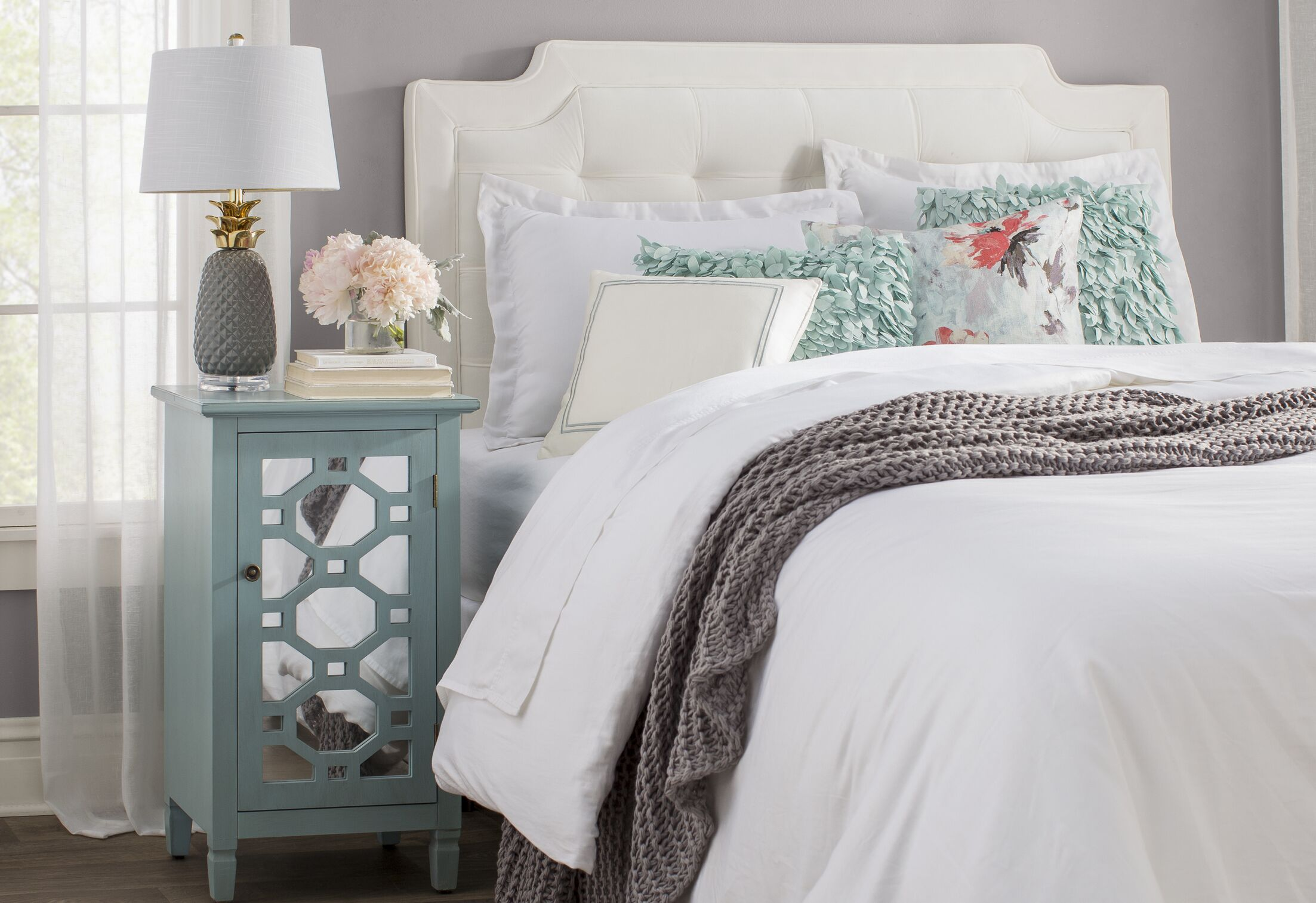 Findlay Upholstered Panel Headboard Size: Queen, Color: White