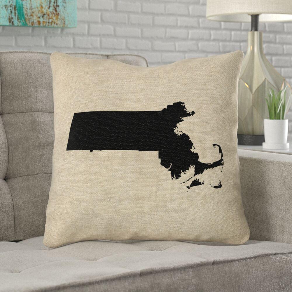 Austrinus Massachusetts No Zipper Outdoor Throw Pillow Size: 18